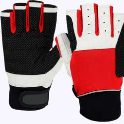 Half Finger Gloves Padded Silicon Printed Palm Spandex Back for Weightlifting Fishing  in Red Black for Men Women