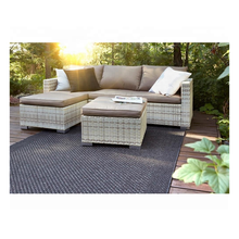 European Style Lounge Sofa Set Hotel Patio Balcony Furniture Corner Sofa Modern Rattan Wicker Steel Garden Corner Set with Stool