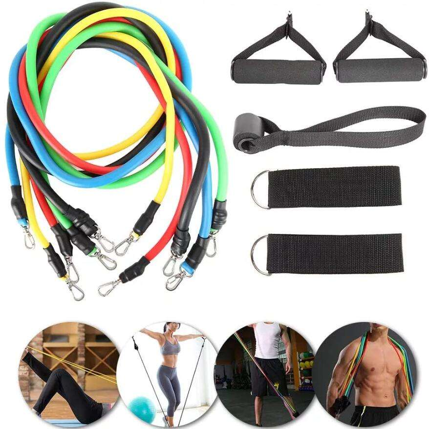 Huanwei 11pcs Custom Logo TPE Latex Tubes Heavy Duty Workout Equipment Fitness Exercise Elastic Band Set Resistance Bands