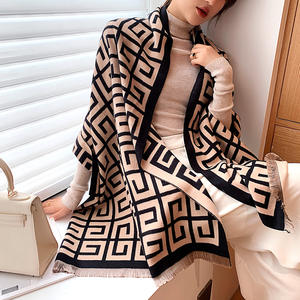 Women's Fashion Long Shawl letters jacquard pashmina scarf Winter Warm tassel Large Scarves Soft Luxurious Cashmere Scarf