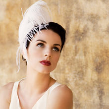 Ivory White Feather Fascinator Unique Bridal Head Piece Great Gatsby Wedding 1920s Flapper Hair Accessory Silver Star