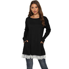 Autumn Pure Color Lace Long Sleeve Patchwork Loose Tunic