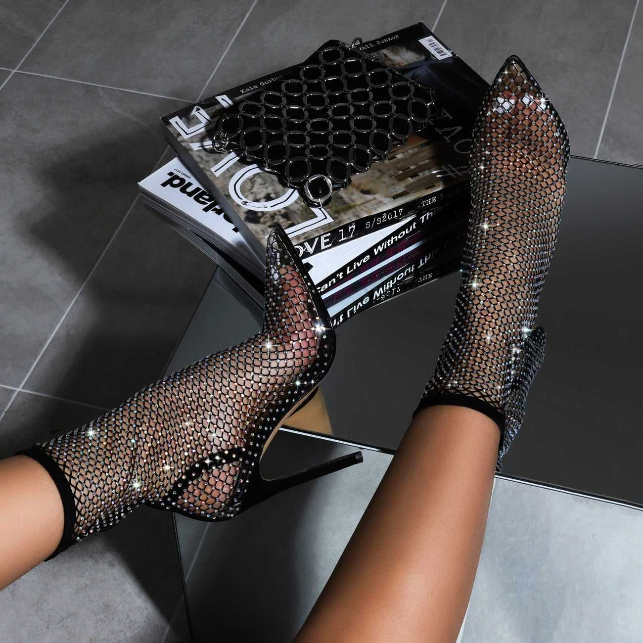 Fashion ladies sock over perspex clear diamante fishnet heels mesh ankle boots for women stiletto heel pointed toe sandals