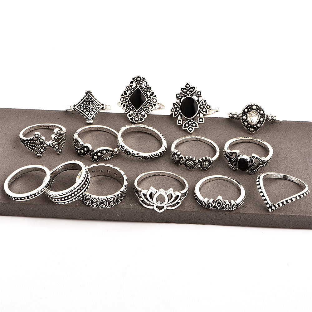 15 Pcs/set Retro Carving Hollow Alloy Finger Ring Women Jewelry Rings Set