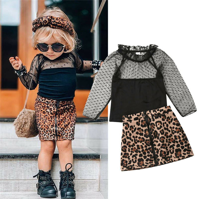 2PCS Set Cute Baby Girls Clothes 2020 Spring Fall Toddler Kids Long Sleeve Lace Tops Leopard Skirt Children Girls Clothing Sets