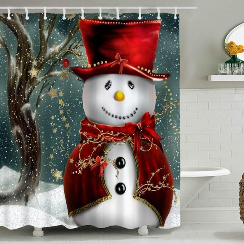 Snowman Shower Curtain Design、Print Fabric Christmas Shower Curtain Set #
