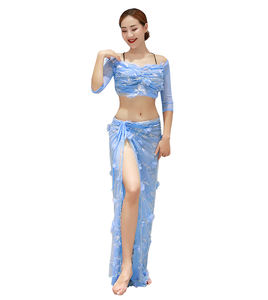 QC3098 Wuchieal New Design Belly Dance Wear with Middle Sleeve Top and Long Skirt with High Slit