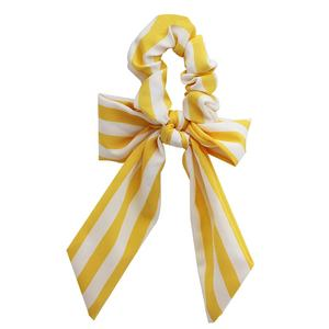 Amazon Quick Sale Striped Shape Chiffon Hair Accessories Long Tail Hair Ring for Woman