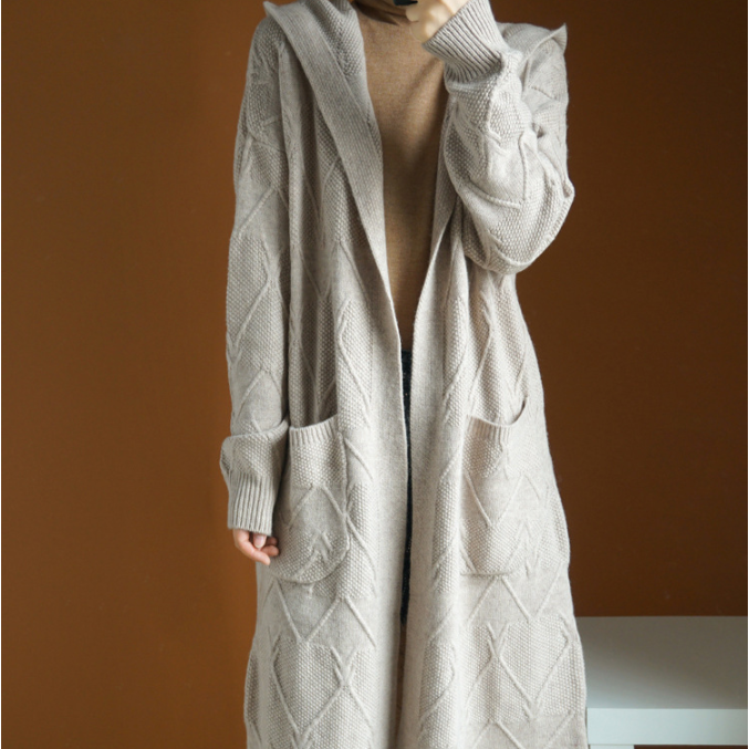 rhomboid grey cashmere wool women winter long cardigan in wholesale and customize your own logo bolero shrug cardigan
