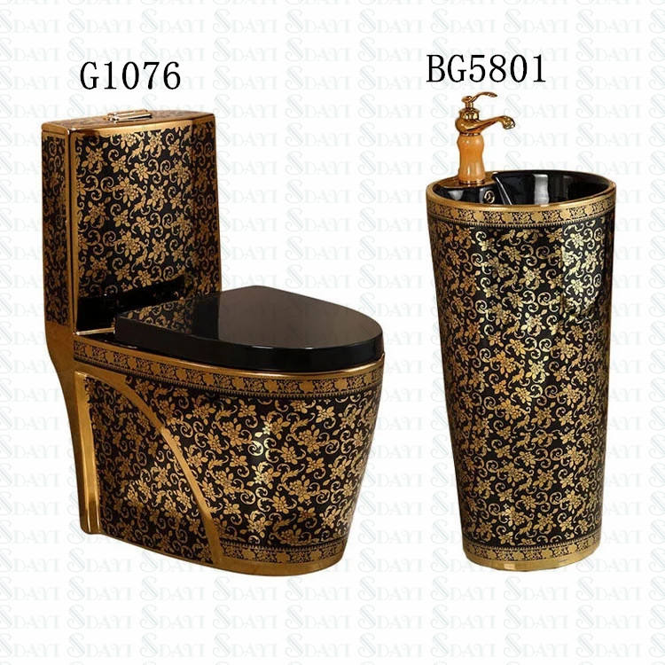 Luxury Western Bathroom Ceramic Gold Plated Toilet Bowl Set
