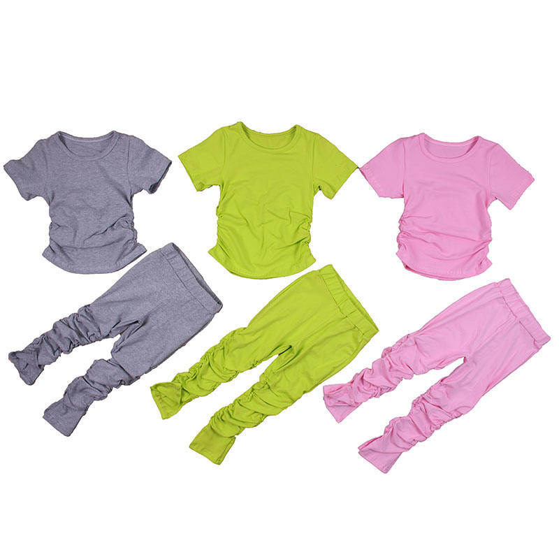 Autumn Baby Girls Solid Tracksuit Children Clothing Set Baby girl cotton piled pants suit kids clothes Stacked Jogging Pants