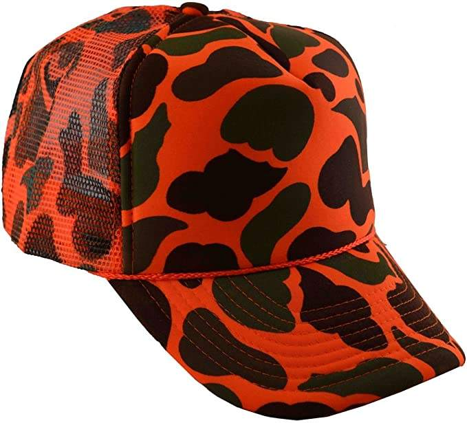 soft mesh panel baseball cap camoflage trucker hats orange camouflage cap