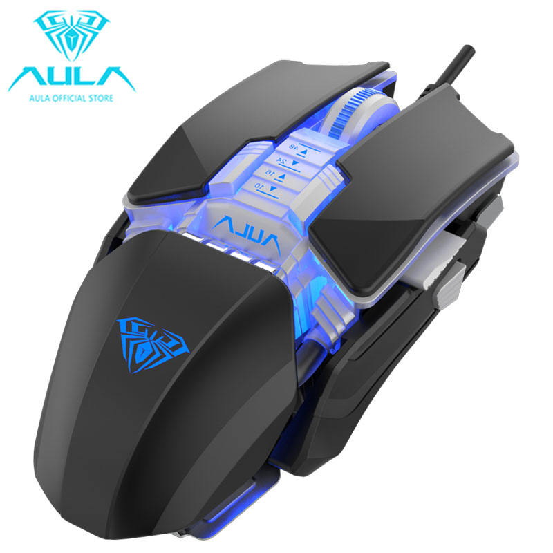 Aula H508 Wired Gaming Mouse Side Wings 7 Buttons 6400Dpi Ergonomic USB Mouse Optical Backlight Mause For Desktop Laptop Gamer