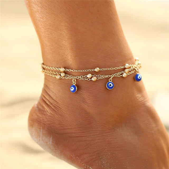 XUNBEI Boho Style Foot Anklet Small Beaded Chain Summer Beach Bohemian Mix Color Anklet Jewelry