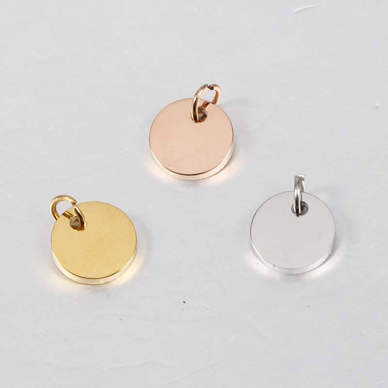 Stainless Steel Blank Stamp 15mm Pendant with Jump Rings Custom Logo Round Tags