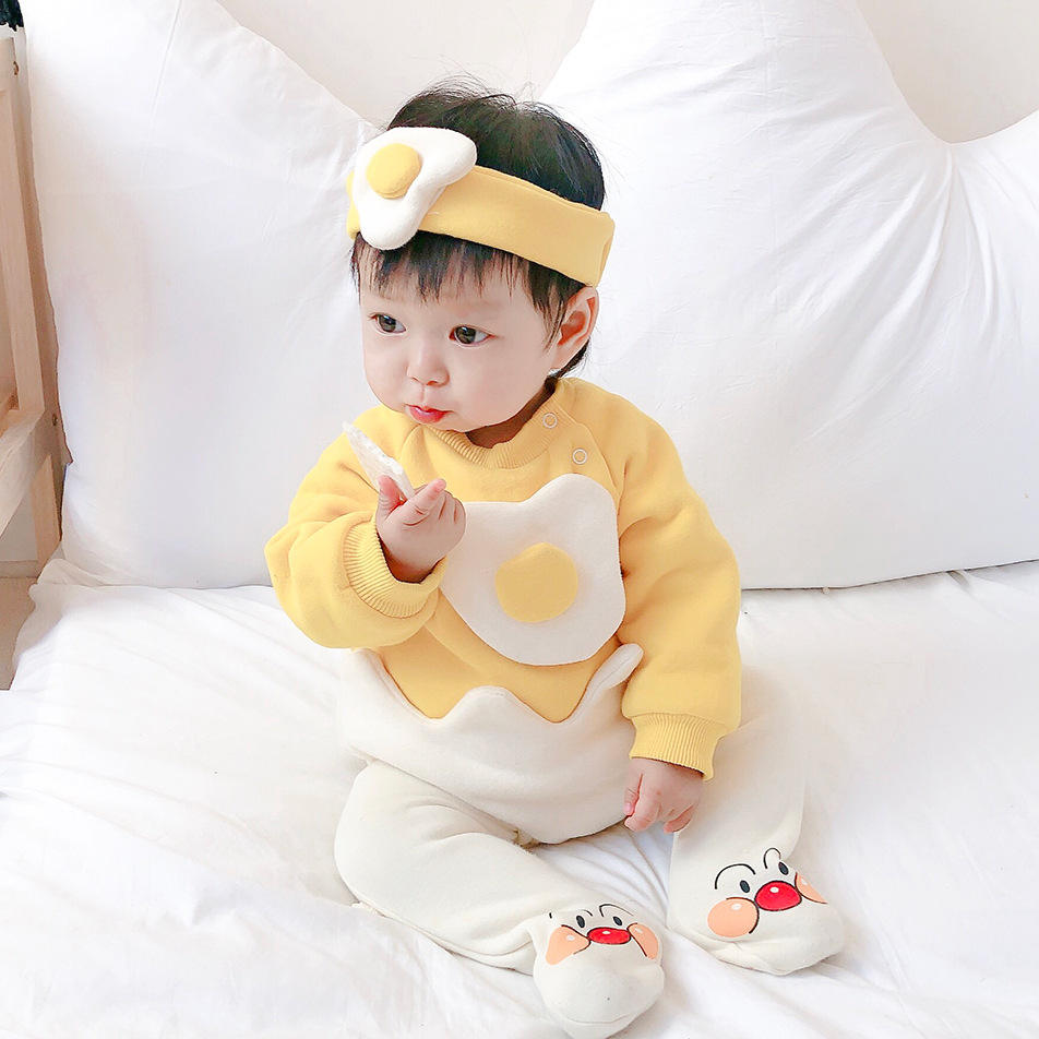 New Baby Clothes Newborn Cartoon Thicken Warm Egg Long Sleeve Harmony Send Hair Band