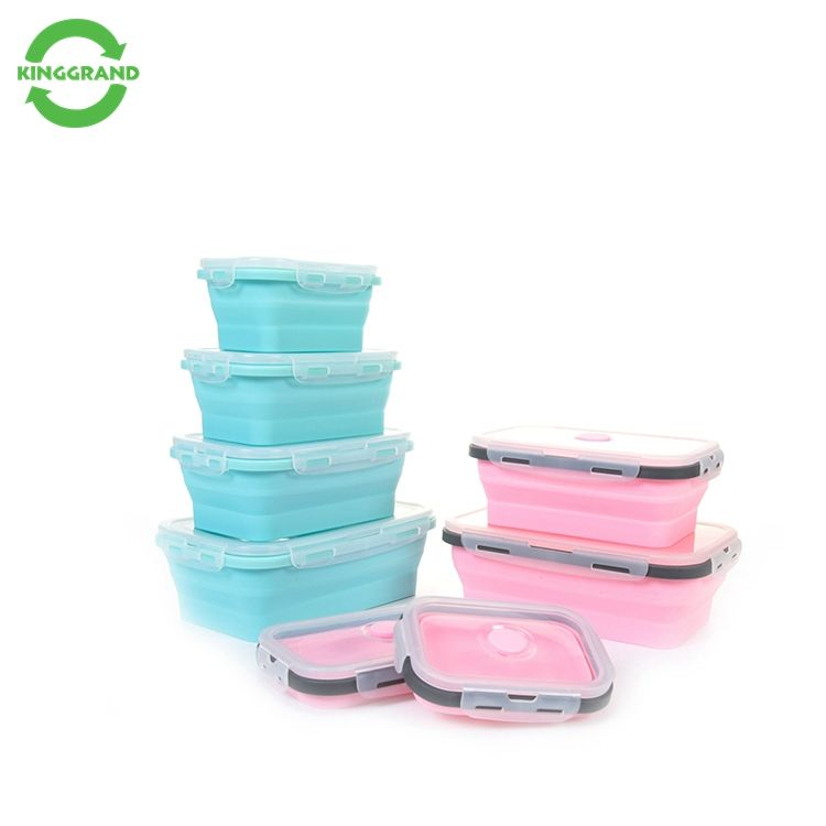 Opvouwbare Siliconen Voedsel Opslag Pyrex Voedsel Container Set