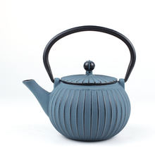 blue round metal beautiful cast iron coffee kettle enamel tea pot