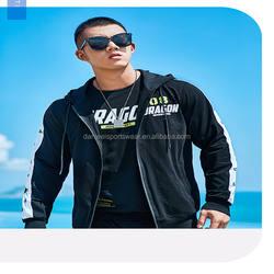 black color full zip hoodie cotton sport fleece jacket men jacket cotton winter
