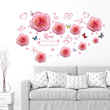 SK7175 Pink Rose Flower Wall Stickers Home Decor