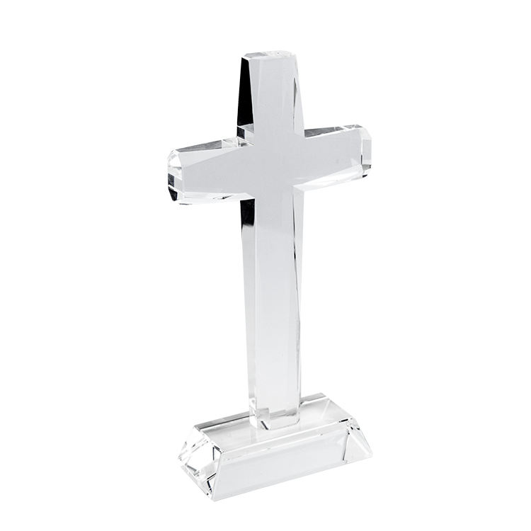 Factory Wholesale K9 Crystal Glass Cross with stand for Religious gift