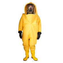 Yellow Color Work Fireman Rubber Chemical Protective Suit