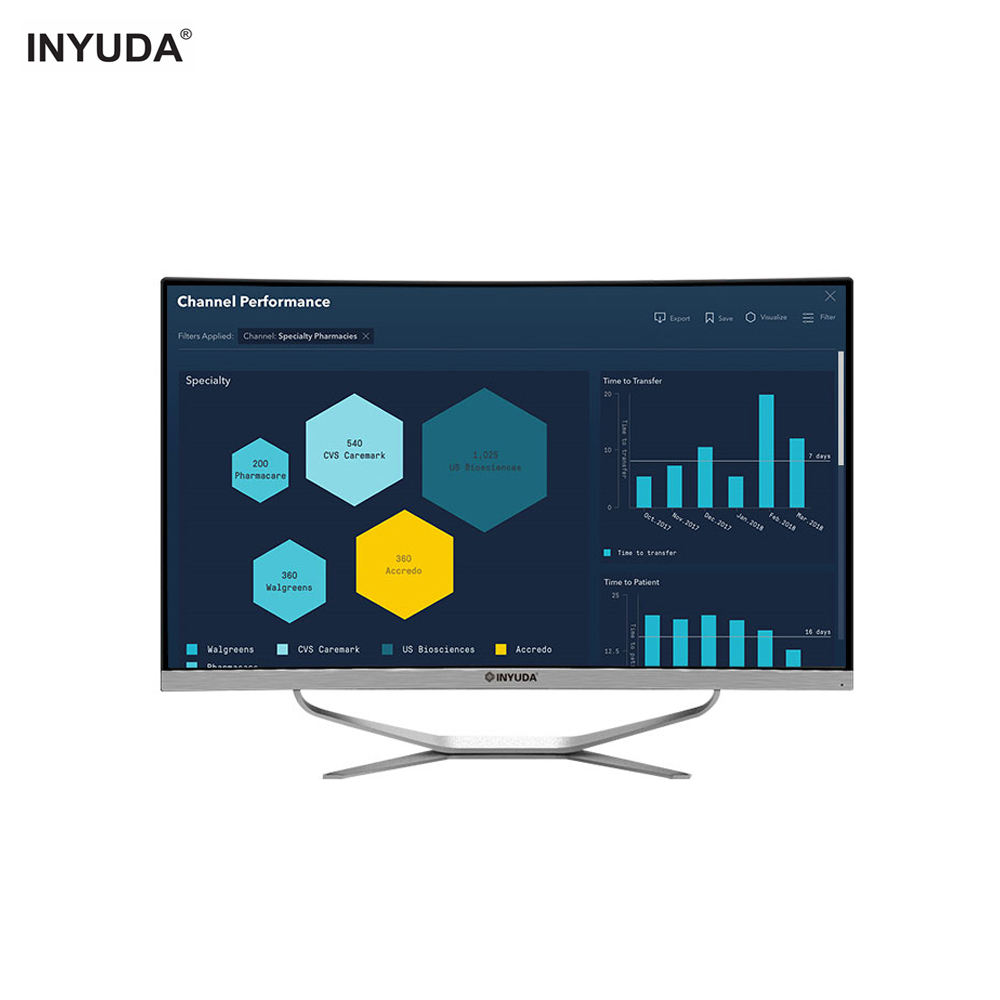 INYUDA Best Sale 27 Inch Curved FHD Screen 9th Gen I7 16G 512G Business AIO Desktop Computer
