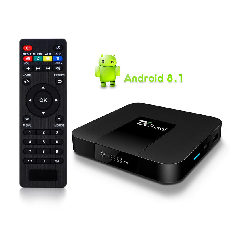 2018 Android 8.1 Amlogic S905W Quad Core Dukungan H.265 4K WIFI Media Player IPTV TX3 Mini Smart TV Box