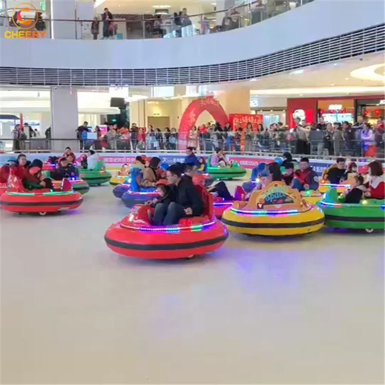 Funny battery dodgem laser shooting inflatable UFO mini bumper car with double layers rubber air cushion