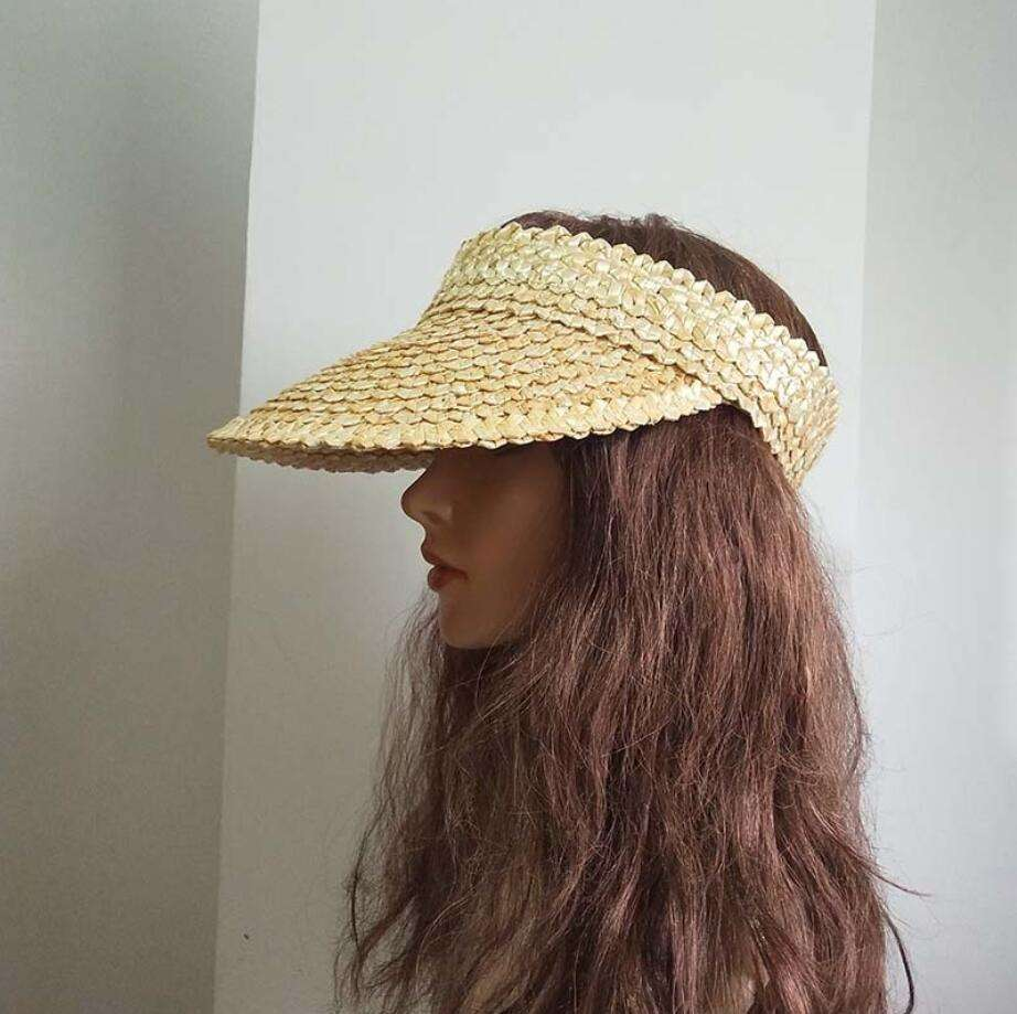 Hand-woven straw empty straw hat women's topless holiday beach hat sunscreen cover face sunshade cap