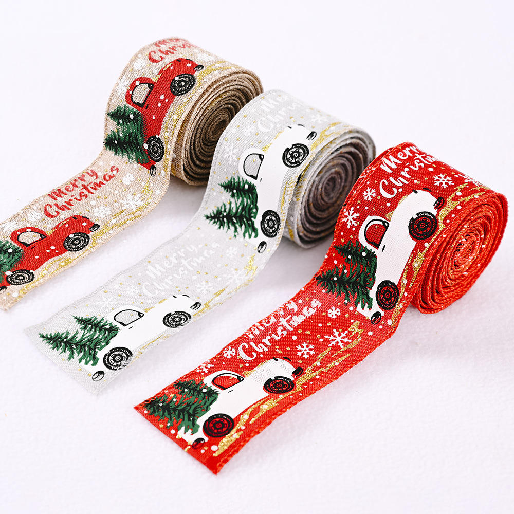 5*500 cm Christmas Ribbon Printed Grosgrain Ribbons for Gift Wrapping Wedding Decoration Hair Bows DIY