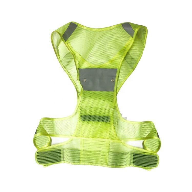 Alta visibilidad Chaleco de malla de fluorescencia chaleco reflectante batería lavable a máquina