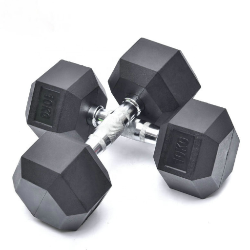 Wholesale black hex / hexagonal / hexagon deluxe rubber coated gym dumbbells sets for sale