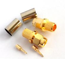 RF coaxial connector high frequency connector SMA-C-J5 male pressure connection  wire copper material gold plated
