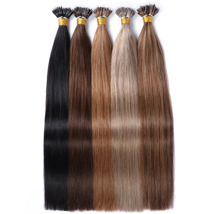 Factory Price Nano Ring Human Hair Extension Different Color Double Drawn Virgin Hair Russia