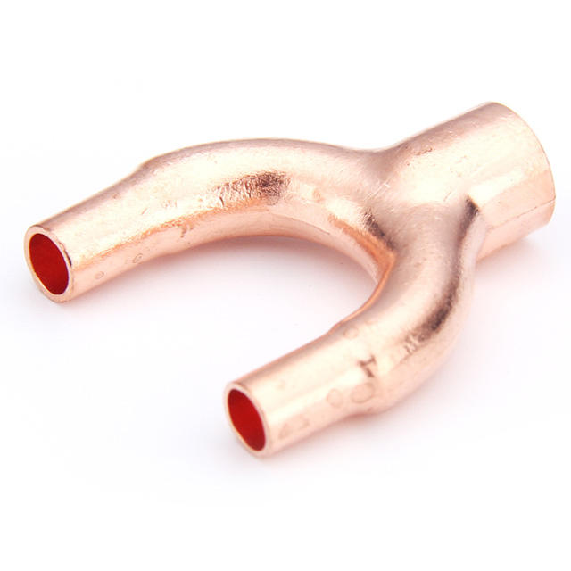 Y TEE type copper pipe fittings all size support for custom Y Air Conditioning Fitting fitting