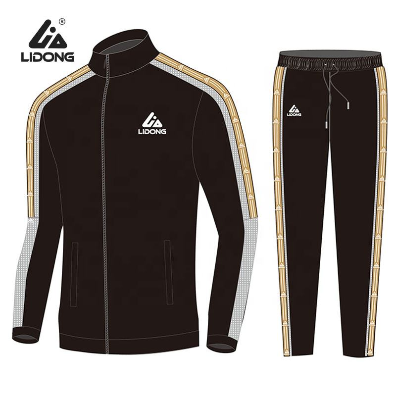 2020 Wholesale Custom Mens Blank Plain Zip Soccer Tracksuits Jogging Track Suits