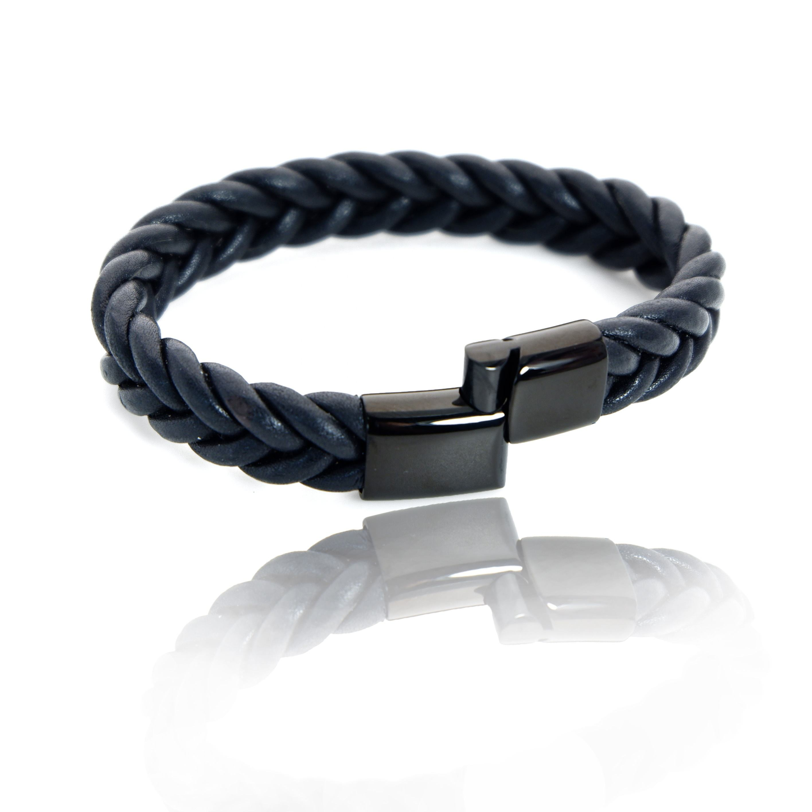 Magnetic stainless steel leather bracelet Manufacturers direct wholesale hand chain Men's fashion leather bracelet