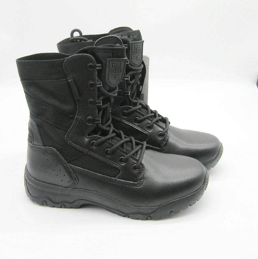 Men Tactical Military Fans Mid Cut Boot Lightweight Black Leather Waterproof Army Boots Police Shoes and Work Boots
