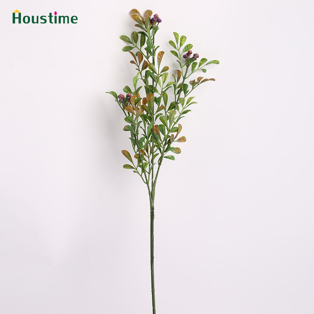 Long Stem Single Branch Leaf Purple Berries Artificial Plant