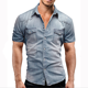 Designer Stylish Casual Mens tight slim fit double two pocket pearl snap button denim shirts with Enzyme stone wash