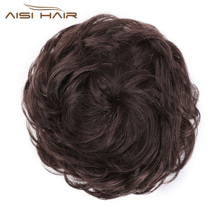 Aisi Hair Dark Brown Brazilian Human Hair Curly Chignon Bun Elastic Rope Rubber Band Hairpiece Clip In Extension For Women