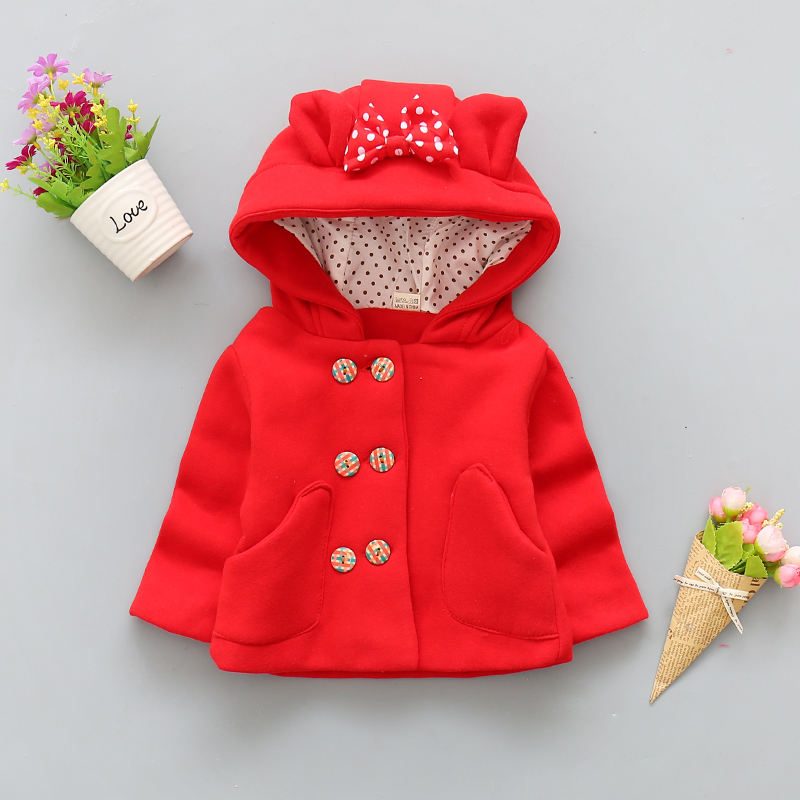 wholesale winter bow red warm baby girls button hoodie woolen thick coats kids child winter cute ear coat