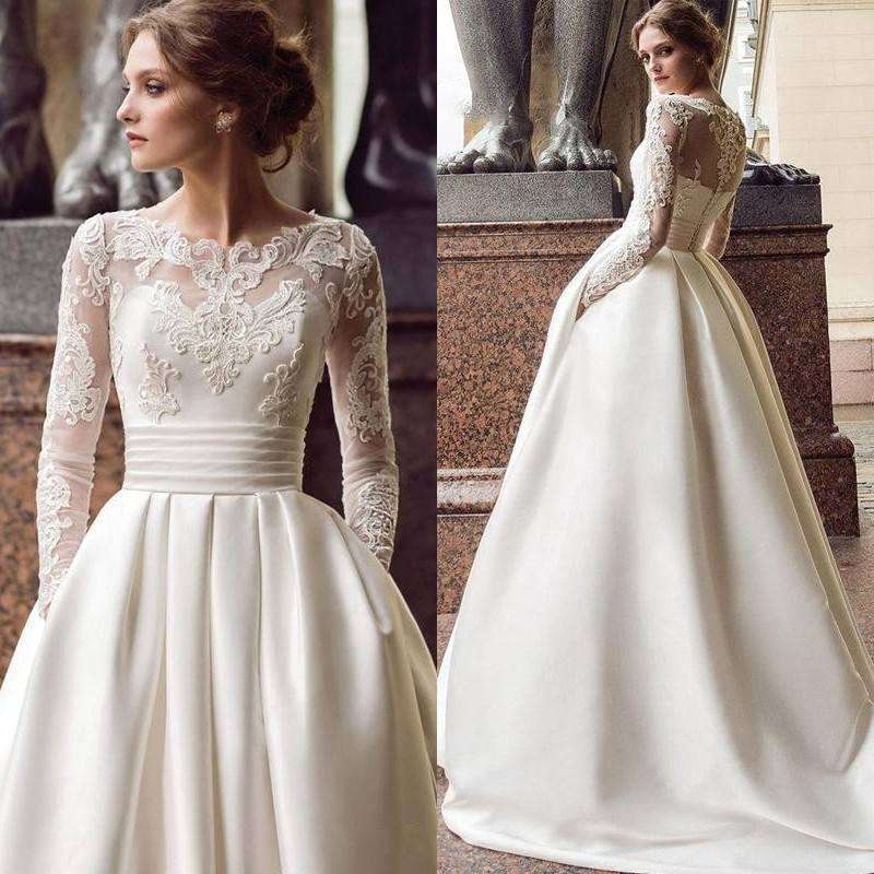Modest Long Sleeve A Line Court Train Exquisite Lace Appliqued Satin Bride Dresses Wedding Gowns