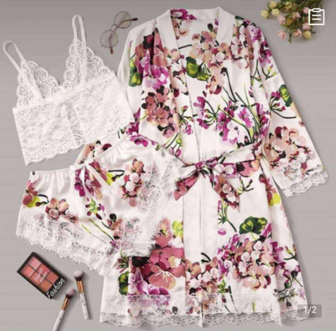 Ladies sleepwear fioral print pajamas set nightwear home women pyjamas 3 pieces nightwear