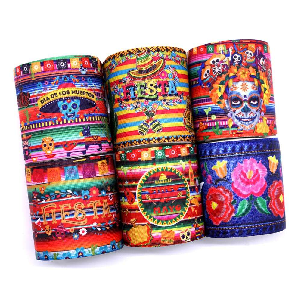 "Holiday celebrate 3"" 75MM Mexico style flower printed grosgrain ribbon for bows"