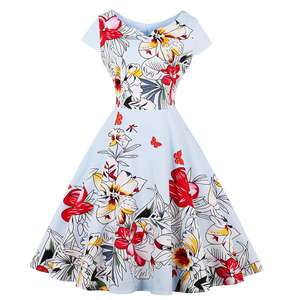 2020 New Design OEM Wholesale Customized Elegant Blue 50s dress with Floral