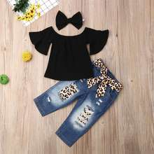 3Pcs Set Cute Baby Girls Clothes 2019 Summer Toddler Kids Tops+Leopard Denim Trousers Outfits Children Girl Clothing Set