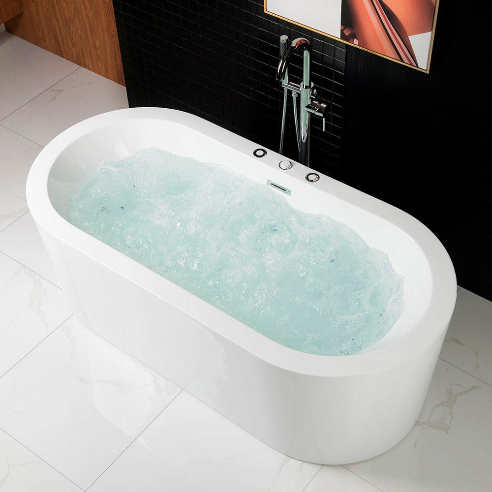 67 inch Whirlpool Water Jetted and Air Bubble Freestanding Bathtub