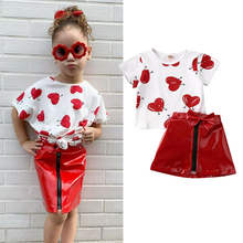 Kids Baby Girls Clothes Summer Love Heart Printed Short Sleeve Top T-shirt Pu Leather Skirt Kids Valentine's Outfits 1-5Y